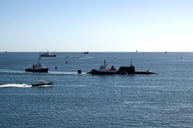 Chris Day | Astute Class SSN under escort on Plymouth Sound