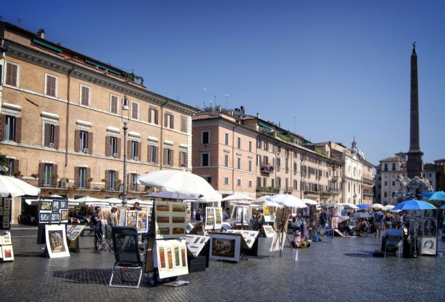 David Birchall | Artists in Plaza Navona, Rome