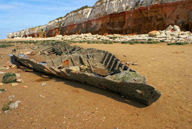 David Birchall | Cliffs and boat skeleton at Hunstanton, Norfolk.