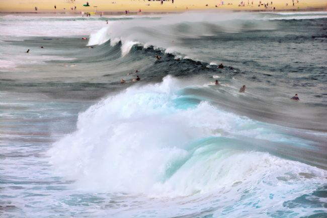 Kaye Menner | Surfing the Wild Seas - Bondi Beach Australia
