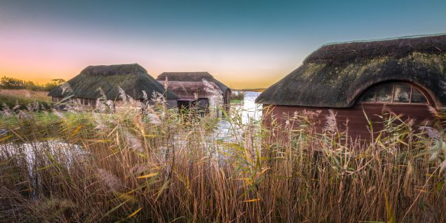 Stephen Mole | Thatched Boat Houses at Hickling Broad