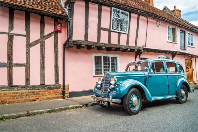 Stephen Mole | Blue classic car at Lavenham