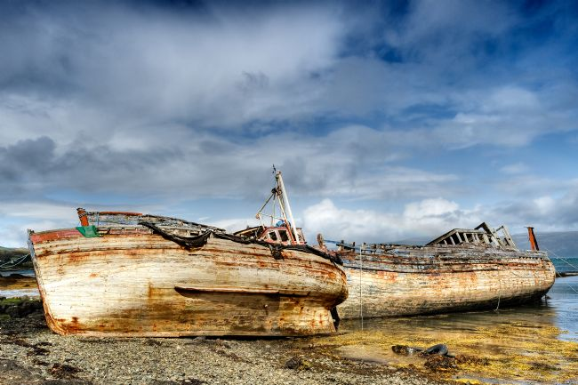 Richard Burdon | Beached Fishing Boats, Salen Bay