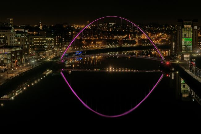 A Blakey | River tyne View - millennium bridge pink