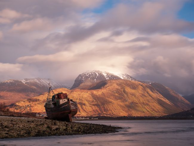Thomas Dickson | Corpach shipwreck with Ben Nevis looming in the background.