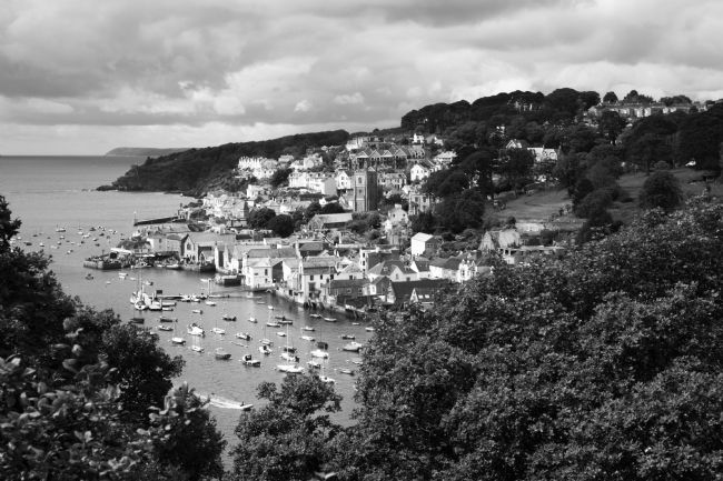 James Brunker | View of Fowey Town and Estuary in Black and White Cornwall