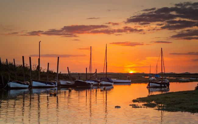David powley | Sunset over Blakeney Harbour