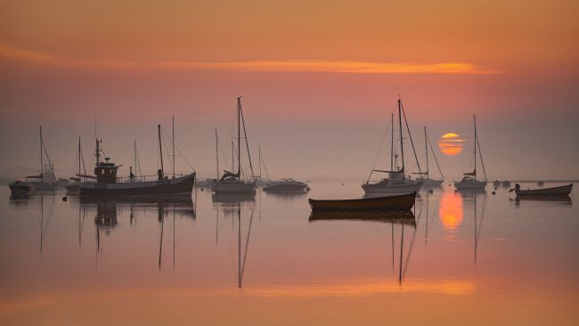 David powley | Misty sunrise at Brancaster Staithe