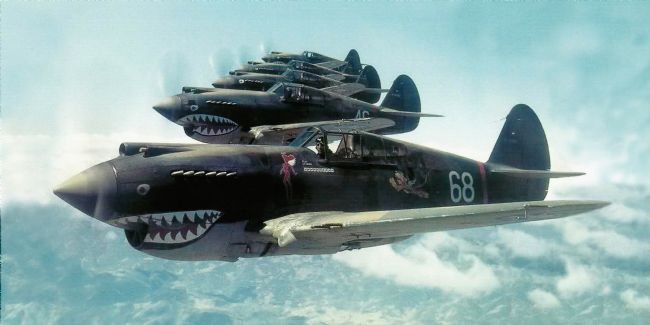 Chris Langley | Flying Tigers - Watercolour and Crayon