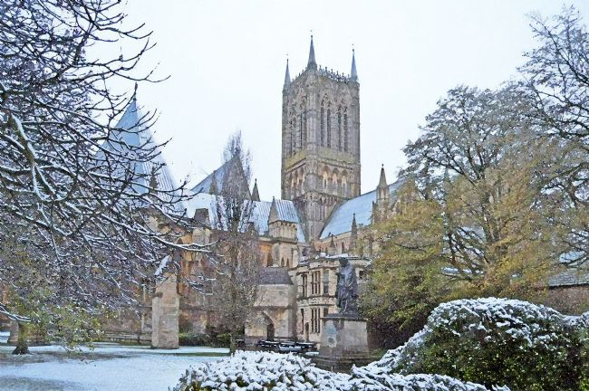 Chris Langley | Season's first snow at Lincoln Cathedral from North East - (watercolour)