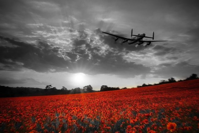 Airpower Art | Lancaster Bomber Sunset Return - Red