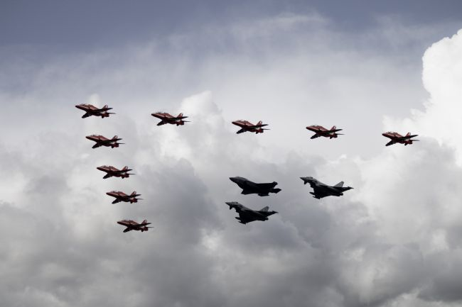 Airpower Art | Red Arrows Typhoons and F-35 Lightning II