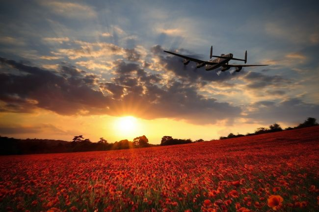 Airpower Art | Lancaster Bomber Sunset Return